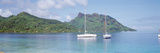 Sailboats in the Sea, Tahiti, Society Islands, French Polynesia Photographic Print by  Panoramic Images