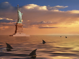 Sharks Circling the Statue of Liberty, New York City, New York State, USA Photographic Print by  Panoramic Images