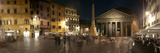 Town Square with Buildings Lit Up at Night, Pantheon Rome, Piazza Della Rotonda, Rome, Lazio, Italy Photographic Print by  Panoramic Images