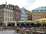 Chairs and Tables in Outdoor Cafe, Old Town, Riga, Latvia Photographic Print by  Panoramic Images