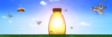 Bees Going to Honey Jar Photographic Print by  Panoramic Images