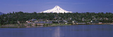 Buildings at the Riverside with a Snowcapped Mountain in the Background, Mt Hood, Hood River, Ho... Photographic Print by  Panoramic Images