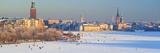 People Strolling across Frozen Riddarfjarden, Riddarholmen, Stockholm, Sweden Fotografisk tryk af Panoramic Images