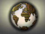 Earth with Circuit Board Continents Photographic Print by  Panoramic Images