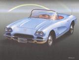 1962 Blue Corvette Posters