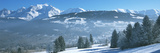 Trees with Snow Covered Mountains in Winter, Combloux, Mont Blanc Massif, Haute-Savoie, Rhone-Al... Photographic Print by  Panoramic Images