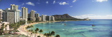 Buildings Along the Coastline, Diamond Head, Waikiki Beach, Oahu, Honolulu, Hawaii, USA Photographic Print by  Panoramic Images