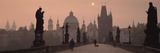 Charles Bridge at Dusk with the Church of St. Francis in the Background, Old Town Bridge Tower, ... Photographic Print by  Panoramic Images