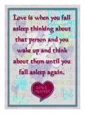 Love Is When You  Fall Asleep Thinking About Giclee Print by Cathy Cute