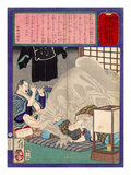 Ukiyo-E Newspaper: Black Monk Monster Kurobozu Attacks a Carpenter's Wife after Midnight Giclee Print by Yoshitoshi Tsukioka