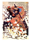 Kyusenpo Sacucho Charging Through the Snow on a Black Stallion Giclee Print by Kuniyoshi Utagawa