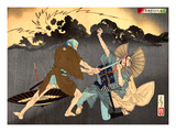 Ukiyo-E Newspaper: Murai Choan Killing His Younger Brother at the Crossroads in Rain Giclee Print by Yoshitoshi Tsukioka