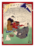 Ukiyo-E Newspaper: a Man Who Married Ooto Knowing She Is a Cross-Dressing Man Giclee Print by Yoshiiku Ochiai