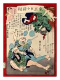 Ukiyo-E Newspaper: a Wife of a Tatami Mat Workman Fall Down on Stairs as She Escapes from Burglars Giclee Print by Yoshiiku Ochiai