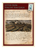 Letter from Vincent: Road with Pollarded Willows Impressão giclée por Vincent van Gogh