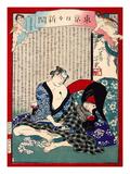 Ukiyo-E Newspaper: a Fishmonger'S Wife Owaka Goes Back to Working at Yoshiwara Giclee Print by Yoshiiku Ochiai