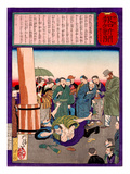 Ukiyo-E Newspaper: a Father Wrestle Down a Kidnapper Who Took His Daughter Giclee Print by Yoshitoshi Tsukioka