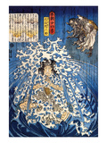 Keyamura Rokusuke under the Hikosan Gongen Waterfall Giclee Print by Kuniyoshi Utagawa