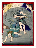 Ukiyo-E Newspaper: Burglars Was Put to Rout by a Skilled Sword Giclee Print by Yoshiiku Ochiai
