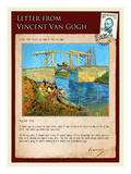 Letter from Vincent: Langlois Bridge at Arles with Women Washing Giclee Print by Vincent van Gogh