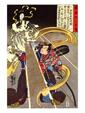 A Man Confronted with an Apparition of the Fox Goddess Giclee Print by Kuniyoshi Utagawa