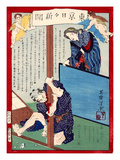 Ukiyo-E Newspaper: a Wife Had an Affaire with a Young Boy and Murdered Her Husband Giclee Print by Yoshiiku Ochiai