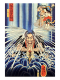Mongaku Doing Penace at the Nachi Waterfall Giclee Print by Kuniyoshi Utagawa