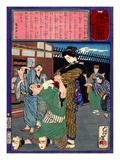 Ukiyo-E Newspaper: Renowned Swordswoman Hanako Miyamoto Punishes a Drunkard Giclee Print by Yoshitoshi Tsukioka