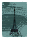 Black Eiffel Tower Paris in Light Green Giclee Print by Victoria Hues