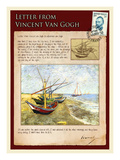 Letter from Vincent: Fishing Boats on the Beach at Saintes-Maries Giclee Print by Vincent van Gogh
