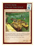 Letter from Vincent: Quay with Men Unloading Sand Barges Giclee Print by Vincent van Gogh