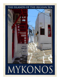 Alleyway in Mykonos Greece 4 Giclee Print by Anna Siena