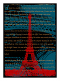 Red Eiffel Tower Paris on Green Giclee Print by Victoria Hues