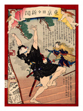 Ukiyo-E Newspaper: Kanpei Shoot an Actor in a Roll of Samurai Sadakuro with Rifle Giclee Print by Yoshiiku Ochiai