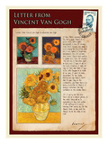 Letter from Vincent: Sunflowers in a Vase Giclee Print by Vincent van Gogh