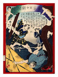 Ukiyo-E Newspaper: Jealous Lover Murder after Love Triangle with a Prostitute Oyuki Giclee Print by Yoshiiku Ochiai