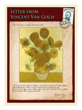 Letter from Vincent: Vase with Fourteen Sunflowers Giclee Print by Vincent van Gogh