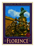 Bust of Benvenuto Cellini on the Ponte Vecchio, Florence. Italy 2 Giclee Print by Anna Siena