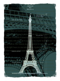 White Eiffel Tower Paris in Green Giclee Print by Victoria Hues