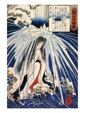 Hatsuhana Doing Penance under the Tonosawa Waterfall Giclee Print by Kuniyoshi Utagawa