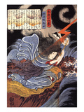 Uneme Is Exorcising the Monstrous Serpent from the Lake Giclee Print by Kuniyoshi Utagawa