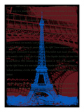 Blue Eiffel Tower Paris in Burnt Siena Giclee Print by Victoria Hues