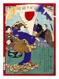 Ukiyo-E Newspaper: Geisha Dance at Celebration Reception for Peace Conference with China Lámina giclée por Yoshiiku Ochiai