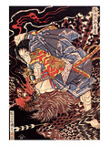 Oki No Jiro Hiroari Killing a Monstrous Tengu Giclee Print by Kuniyoshi Utagawa