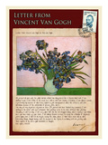 Letter from Vincent: Vase with Irises Giclee Print by Vincent van Gogh