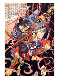 Ino Hayata Hironao Grappling with the Monster Giclee Print by Kuniyoshi Utagawa