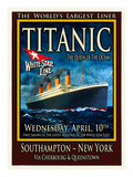 Titanic White Star Line Travel Poster 2 Reproduction procédé giclée par Jack Dow