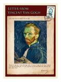 Letter from Vincent: Salf-Portrait1 Gicle-tryk af Vincent van Gogh
