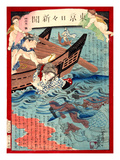 Ukiyo-E Newspaper: a Young Girl Yasu Being Rescued from a Water by a Ferryman Giclee Print by Yoshiiku Ochiai