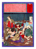 Ukiyo-E Newspaper: Flirtatious Omatsu Being Gang Raped for a Punishment Giclee Print by Yoshitoshi Tsukioka